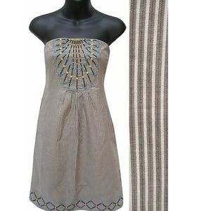 Anthro  Maeve Striped Embroidered Strapless Dress